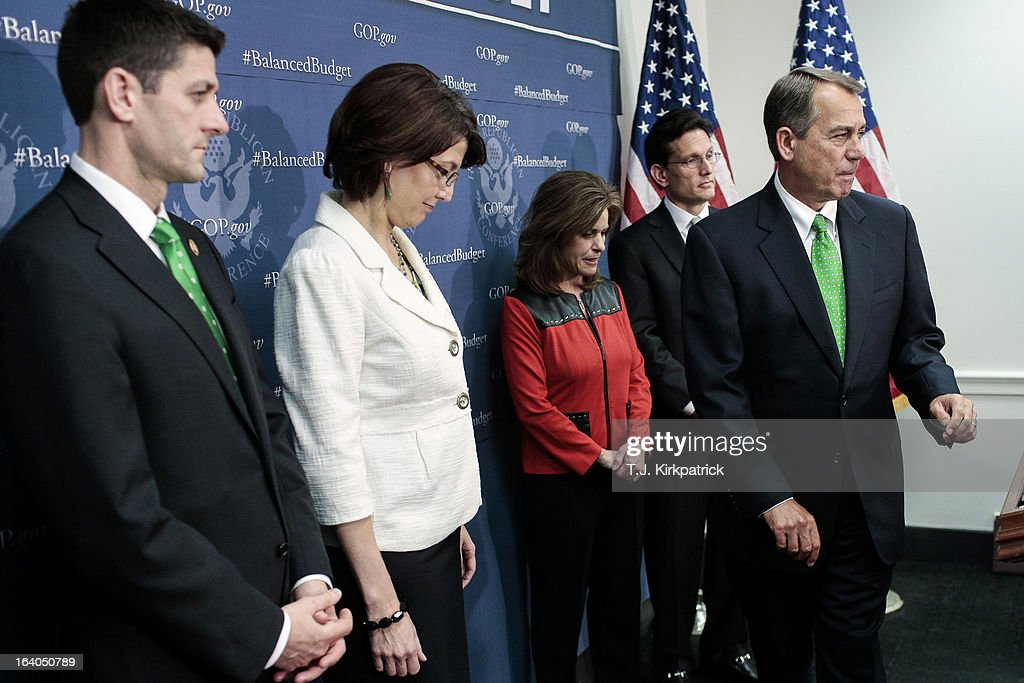 House Speaker John Boehner (R-OH) (R) takes the podium as House GOP leaders including (L-R) Rep. Paul Ryan (R-WI), House Republican Conference Chairman Cathy McMorris Rodgers (R-WA), and House Majority Leader Eric Cantor (R-VA) address the media after a party conference on March 19, 2013 in Washington, DC. GOP leaders asked that the president work with them to create a balanced budget plan, citing President Clinton's efforts to work with House Republicans on a budget in the 1990s.