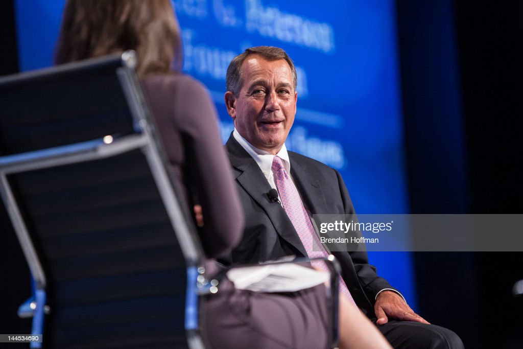 House Speaker <a gi-track='captionPersonalityLinkClicked' href=/galleries/search?phrase=John+Boehner&family=editorial&specificpeople=274752 ng-click='$event.stopPropagation()'>John Boehner</a> (R-OH) talks with moderator <a gi-track='captionPersonalityLinkClicked' href=/galleries/search?phrase=Erin+Burnett&family=editorial&specificpeople=4401523 ng-click='$event.stopPropagation()'>Erin Burnett</a> (L) at the 2012 Fiscal Summit on May 15, 2012 in Washington, DC. The third annual summit, held by the Peter G. Peterson Foundation, explored the theme 'America's Case for Action.'