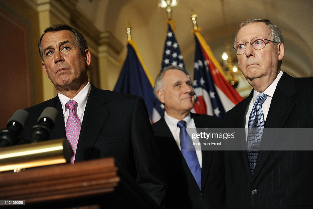 House Speaker John Boehner (R-OH) U.S. Sen. Jon Kyl (R-AZ) and Senate Minority Leader Mitch McConnell (R-KY) speak to reporters about meeting with U.S. President Barack Obama over the deficit debate at the U.S. Capitol on April 13, 2011 in Washington, DC. Obama is scheduled to make a major budget address this afternoon.