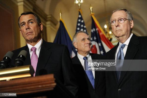 House Speaker John Boehner US Sen Jon Kyl and Senate Minority Leader Mitch McConnell speak to reporters about meeting with US President Barack Obama...