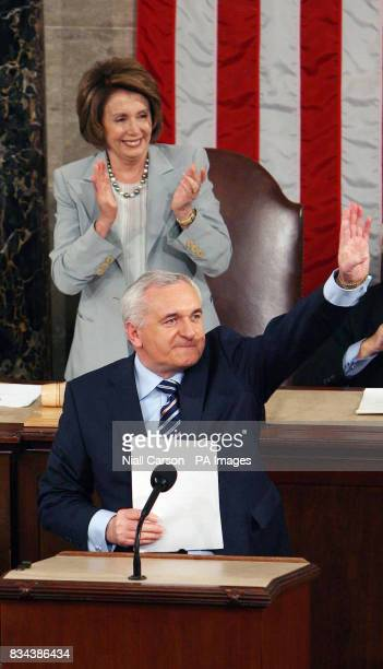 House Speaker Nancy Pelosi applaudes during Taoiseach Bertie Aherns speech at the US House of Congress in Washington