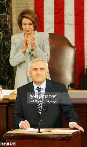 House Speaker Nancy Pelosi applauds during Taoiseach Bertie Aherns speech at the US House of Congress in Washington