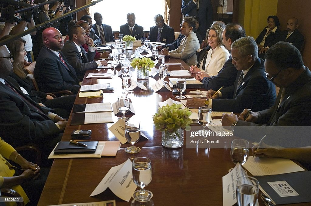 House Speaker Nancy Pelosi DCalif during a photo op in her office with members of the Black Leadership Forum
