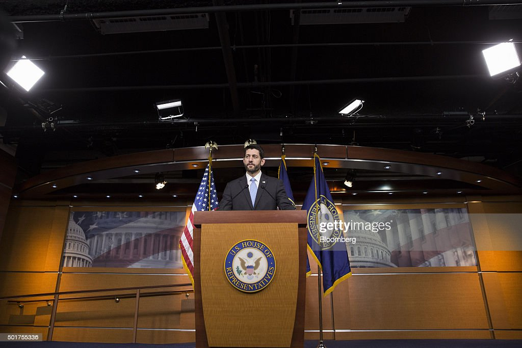 U.S. House Speaker <a gi-track='captionPersonalityLinkClicked' href=/galleries/search?phrase=Paul+Ryan+-+Politician&family=editorial&specificpeople=7641535 ng-click='$event.stopPropagation()'>Paul Ryan</a>, a Republican from Wisconsin, speaks during a press conference on Capitol Hill in Washington, D.C., U.S., on Thursday, Dec. 17, 2015. With late-night texts to his members and an open-door policy for his most hard-to-please colleagues, Ryan was determined to keep the usual Republican infighting from derailing his maiden government spending deal as U.S. House speaker. Photographer: Drew Angerer/Bloomberg via Getty Images