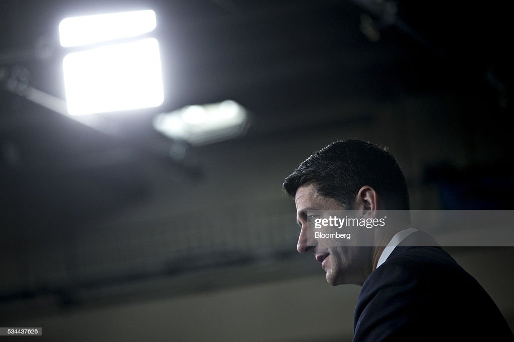 U.S. House Speaker <a gi-track='captionPersonalityLinkClicked' href=/galleries/search?phrase=Paul+Ryan+-+Politician&family=editorial&specificpeople=7641535 ng-click='$event.stopPropagation()'>Paul Ryan</a>, a Republican from Wisconsin, speaks during a news conference in Washington, D.C., U.S., on Thursday, May 26, 2016. Donald Trump and Ryan spoke by telephone on Wednesday night, as the pair of Republican leaders try to break a weeks-long impasse over an endorsement. Photographer: Andrew Harrer/Bloomberg via Getty Images