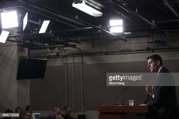 US House Speaker Paul Ryan a Republican from Wisconsin speaks during a news conference on Capitol Hill in Washington DC US on Thursday May 25 2017...