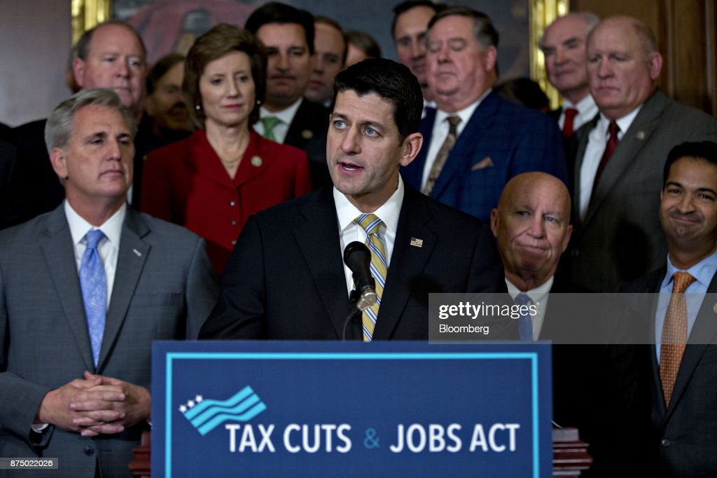 House Leadership Hold News Conference After Voting On Tax Cuts And Jobs Act Bill