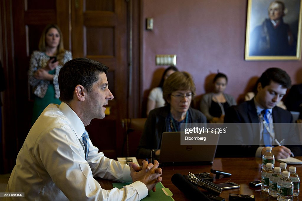 U.S. House Speaker Paul Ryan, a Republican from Wisconsin, speaks to members of the media during a pen and pad briefing at the U.S. Capitol in Washington, D.C., U.S., on Wednesday, May 25, 2016. Ryan said that he has not decided yet whether to endorse Donald Trump, a move that would end a weeks-long rift between the House speaker and the presumptive Republican presidential nominee. Photographer: Andrew Harrer/Bloomberg via Getty Images