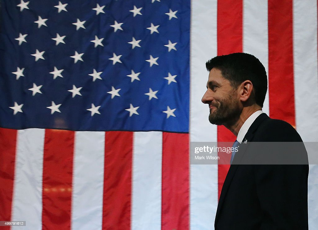 House Speaker <a gi-track='captionPersonalityLinkClicked' href=/galleries/search?phrase=Paul+Ryan+-+Politician&family=editorial&specificpeople=7641535 ng-click='$event.stopPropagation()'>Paul Ryan</a> (R-WI) approaches the podium to deliver a speech at the Library of Congress, December 3, 2015 in Washington, DC. Ryan spoke about important challenges facing the country and the principles by which Americans should address them.