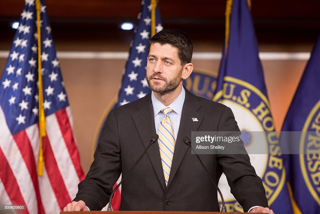 House Speaker <a gi-track='captionPersonalityLinkClicked' href=/galleries/search?phrase=Paul+Ryan+-+Politician&family=editorial&specificpeople=7641535 ng-click='$event.stopPropagation()'>Paul Ryan</a> (R-WI) holds his weekly press briefing on Capitol Hill on December 10, 2015 in Washington, D.C. <a gi-track='captionPersonalityLinkClicked' href=/galleries/search?phrase=Paul+Ryan+-+Politician&family=editorial&specificpeople=7641535 ng-click='$event.stopPropagation()'>Paul Ryan</a> spoke on topics including Donald Trump and the spending bill.