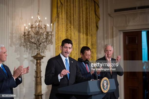 House Speaker Paul Ryan of Wis with Vice President Mike Pence andTerry Gou president and chief executive officer of Foxconn by his side speaks before...