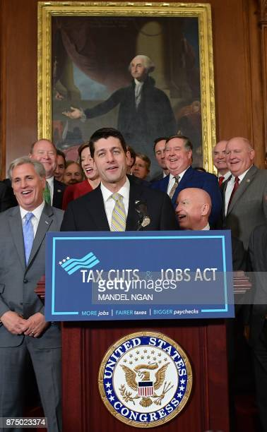 House Speaker Paul Ryan speaks after the House passed its version of the Republican tax overhaul in the Rayburn Room of the US Capitol on November 16...