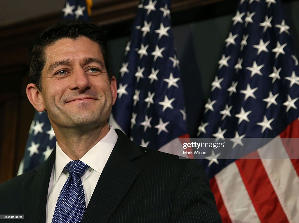 House Speaker <a gi-track='captionPersonalityLinkClicked' href=/galleries/search?phrase=Paul+Ryan+-+Politician&family=editorial&specificpeople=7641535 ng-click='$event.stopPropagation()'>Paul Ryan</a> (R-WI) speaks to the media after a meeting with House Republicans on Capitol Hill November 3, 2015 in Washington, DC. Ryan joined with members of the House leadership to discuss legislation that is currently before Congress.