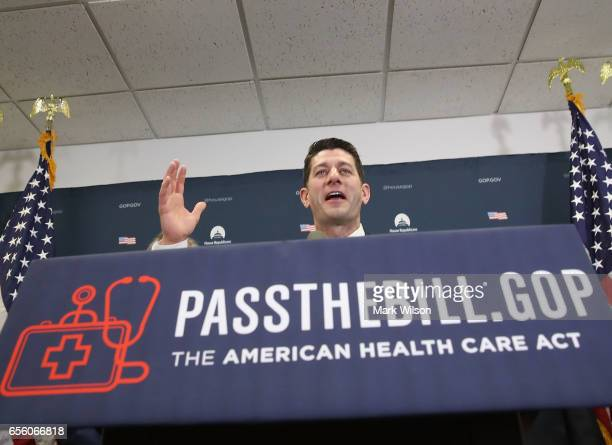 House Speaker Paul Ryan speaks to the media after after a House Republican closed party conference attended by US President Donald Trump on Capitol...