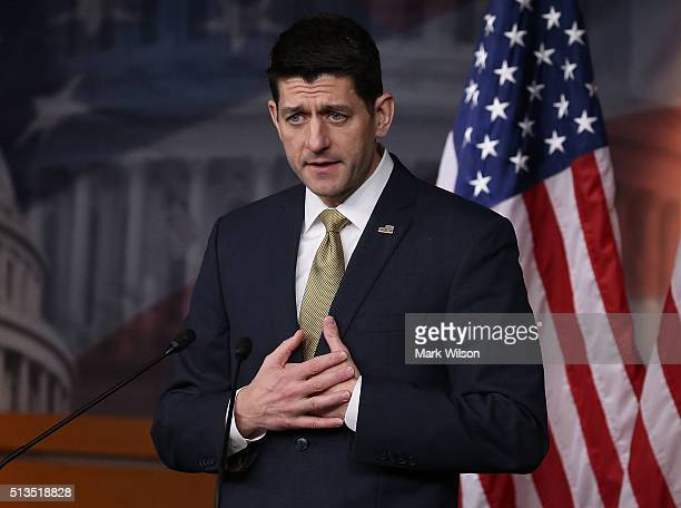 House Speaker Paul Ryan speaks to the media during his weekly briefing at the US Capitol March 3 2016 in Washington DC Speaker Ryan spoke about the...