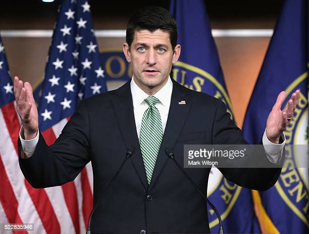 House Speaker Paul Ryan speaks to the media during his weekly news conference on Capitol Hill on April 21 2016 in Washington DC In a recent interview...