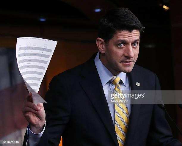 House Speaker Paul Ryan speaks to the media on repealing the Affordable Care Act during his weekly news conference on Capitol Hill January 5 2017 in...