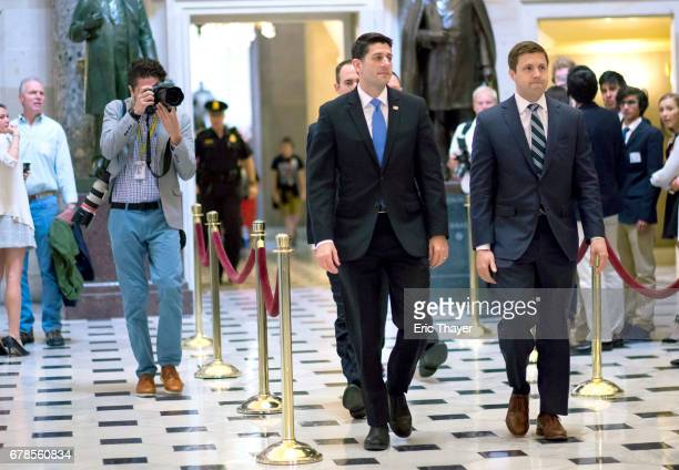 House Speaker Paul Ryan walks to the House chamber on Capitol Hill May 4 2017 in Washington DC The House is expected to vote on the GOPs healthcare...