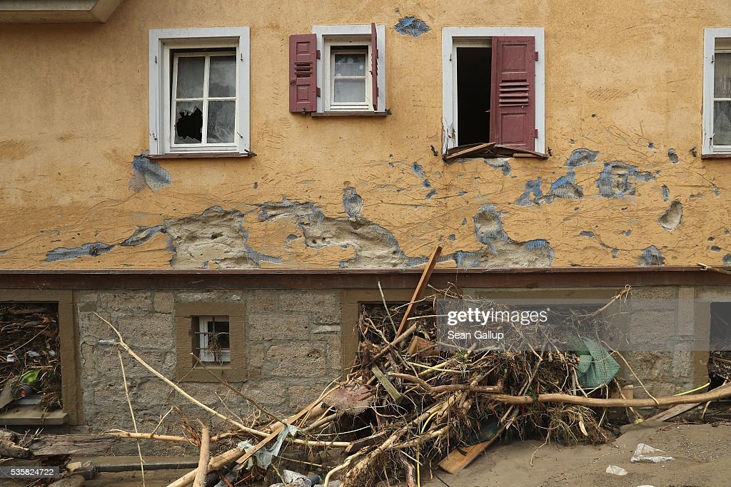 A house stands damaged in the village center following a furious flash flood the night before on May 30, 2016 in Braunsbach, Germany. The flood tore through Braunsbach, crushing cars, ripping corners of houses and flooding homes during a storm that hit southwestern Germany. Miraculously no one in Braunsbach was killed, though three people died as a result of the storm in other parts of the country.