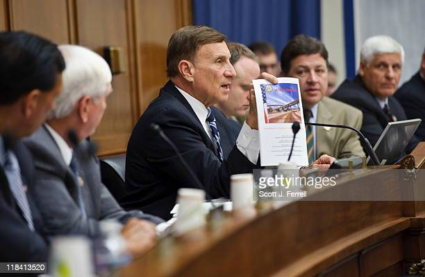 House Transportation Chairman John L Mica RFla with other Republican members during a news conference introducing the Republican transportation...
