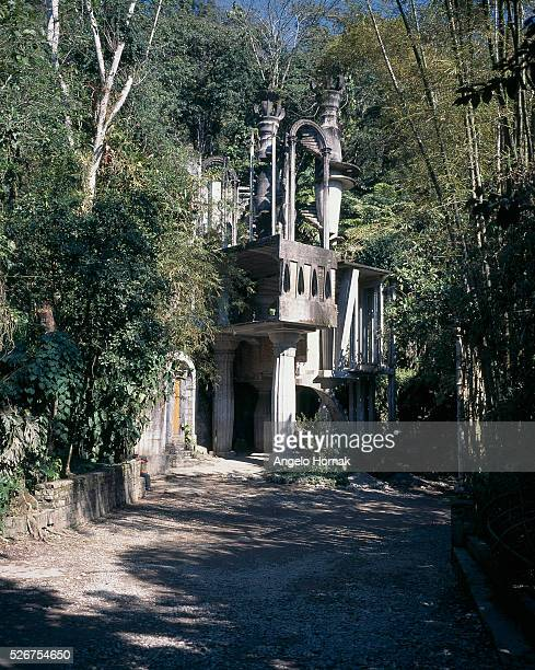 A house used as a movie theater at Las Pozas Surrealist Sculpture Garden built of reinforced concrete in the 1960s and 1970s by Edward James in...