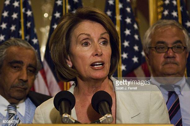 House Ways and Means Chairman Charles B Rangel DNY House Speaker Nancy Pelosi DCalif and House Financial Services Chairman Barney Frank DMass during...
