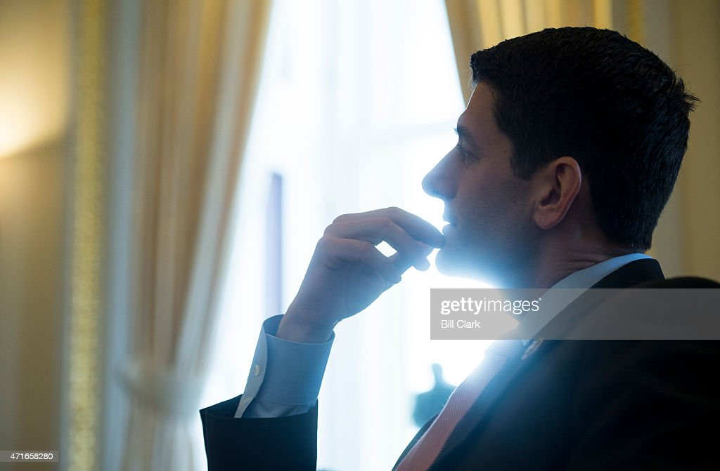 House Ways and Means chairman Rep. <a gi-track='captionPersonalityLinkClicked' href=/galleries/search?phrase=Paul+Ryan+-+Politician&family=editorial&specificpeople=7641535 ng-click='$event.stopPropagation()'>Paul Ryan</a>, R-Wisc., speaks with Roll Call in the House Ways and Means Committee room in the U.S. Capitol on Thursday, April 30, 2015.