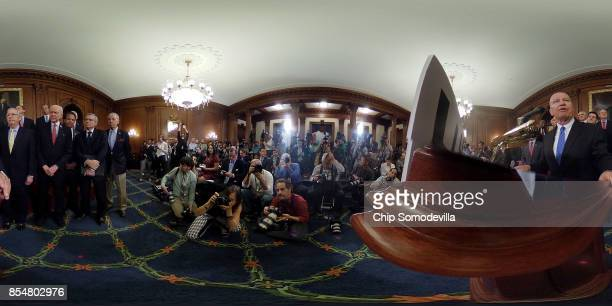 House Ways and Means Committee Chairman Kevin Brady addresses a news conference with Speaker of the House Paul Ryan Senate Majority Leader Mitch...