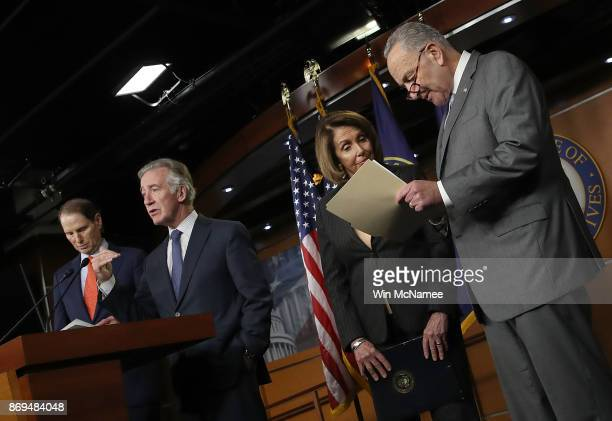 House Ways and Means ranking member Richard Neal speaks during a press conference where congressional Democrats reacted to the newly introduced...