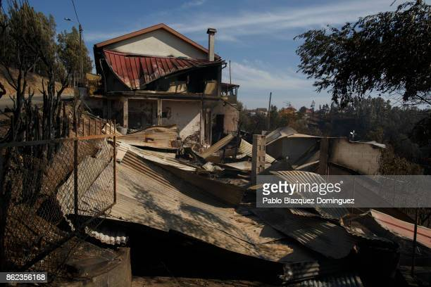 A house where allegedly died one woman during the wildfire is burnt in the village of Travanca do Mondego on October 17 2017 in Coimbra region...