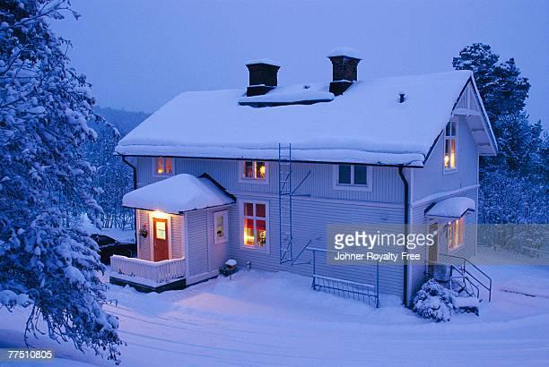 A house wintertime Malmbergen Lappland Sweden.