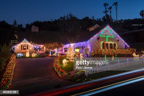 House with abundant exterior christmas lights stock photo getty images for Christmas lights for house exterior