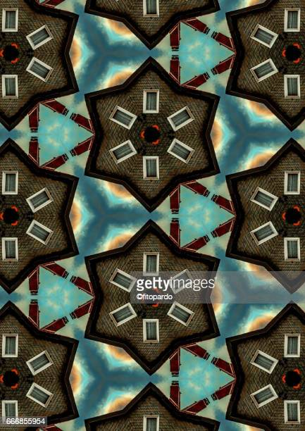 House with chimney kaleidoscope pattern