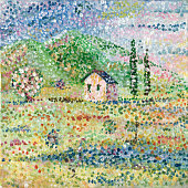 A square picture painted with points in the style of pointillism. Traditional landscape of southern Europe with cypresses and white houses. A painting acrylic on canvas. Author I - Ilya Panfilov.