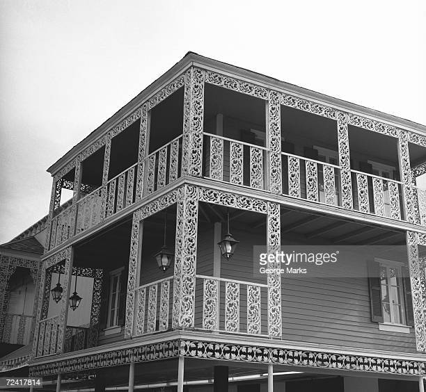 House with open worked balustrade, (B&W)