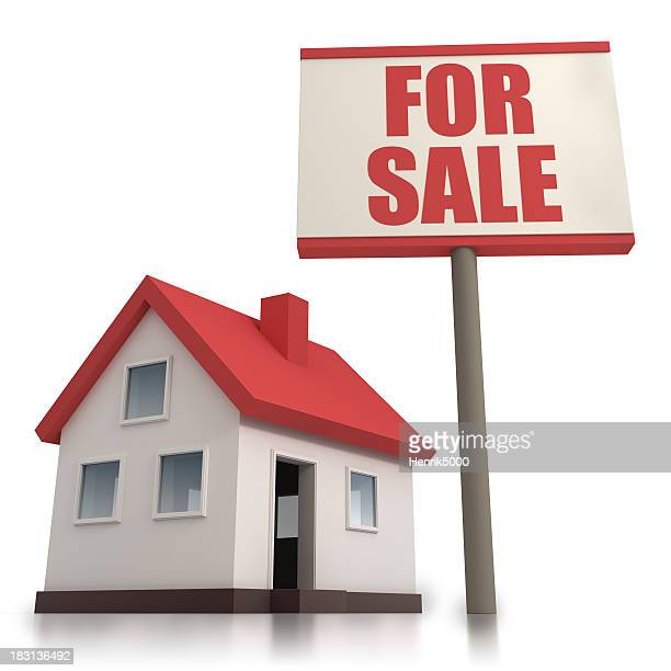 "House with ""For sale"" sign - isolated w. clipping path"