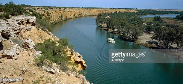 Houseboat on the Murray River Australia's longest river 2375 km part of the MurrayDarling river system Near Nildottie South Australia Australia