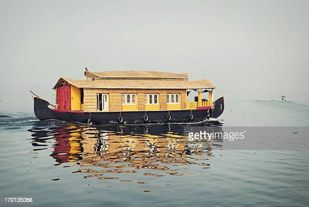 Houseboat sailing on Vembanad Lake,Kerala, India.