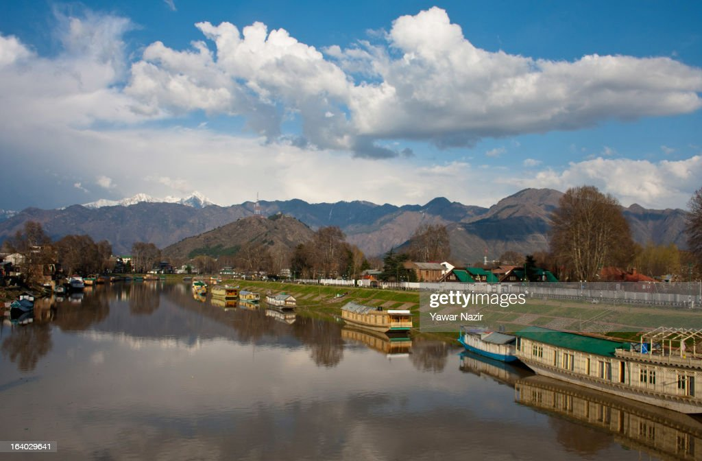 Houseboats are moored to the banks of river Jehlum on March 19, 2012 in Srinagar the summer capital of Indian administered Kashmir, India. Kashmir has been a contested land between nuclear neighbors India and Pakistan since 1947, the year both the countries attained freedom from the British. Since 1947 the ownership of Kashmir has been disputed between Pakistan, India and China.