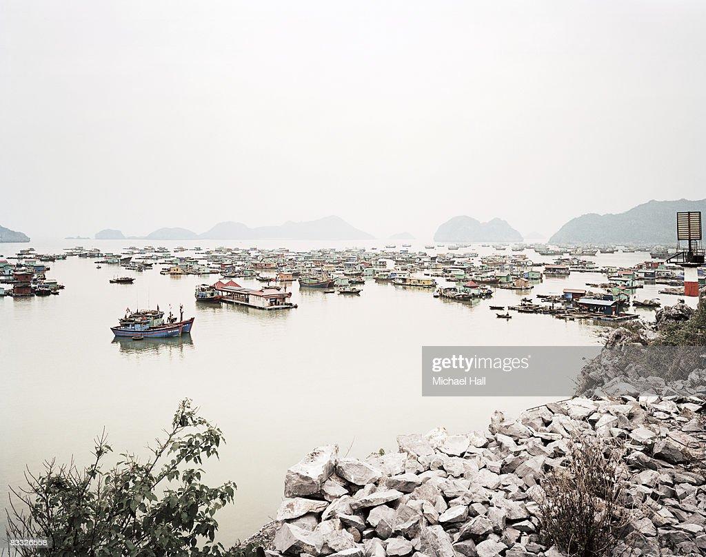 Houseboats in Vietnam : Stock Photo