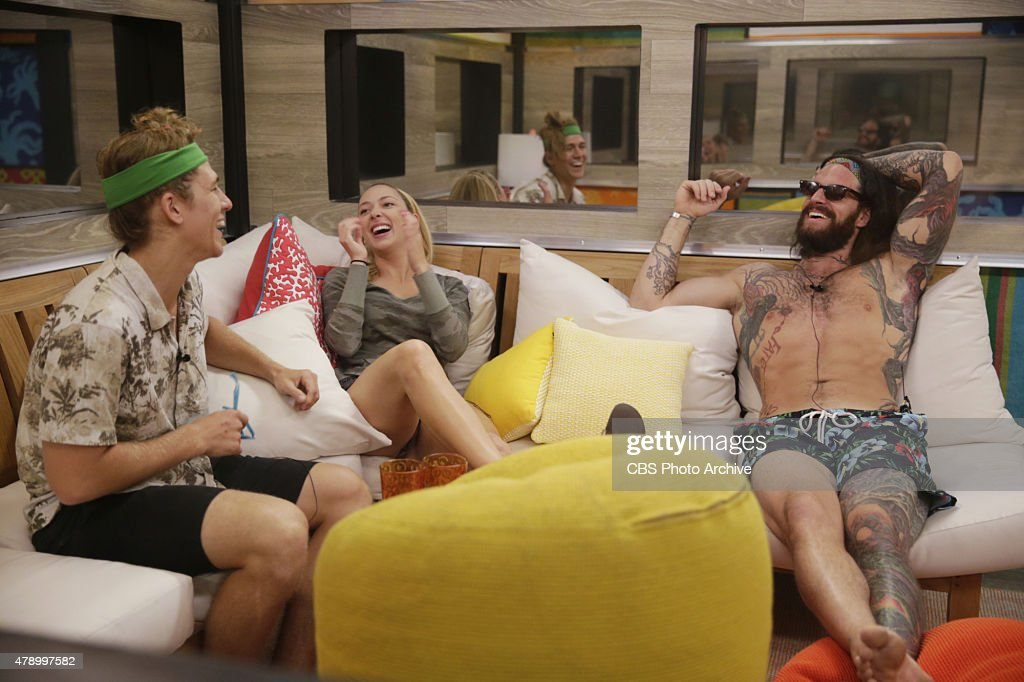 Houseguests Jace Agolli Liz Nolan and Austin Matelson inside the indoor hammock room on BIG BROTHER Sunday June 28 on the CBS Television Network