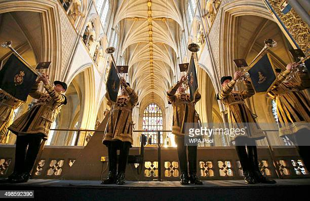 Household Cavalry trumpeters play during the Inauguration Of The Tenth General Synod at Westminster Abbey on November 24 2015 in London England