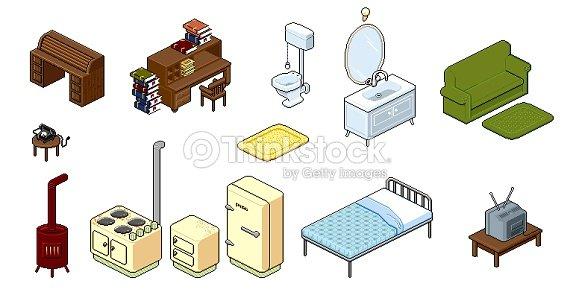 Household Furniture Items Illustration Pixel Retro Style