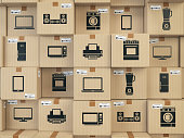 Household kitchen appliances and homeelectronics in boxes . E-commerce, internet online shopping and delivery concept. 3d illustration