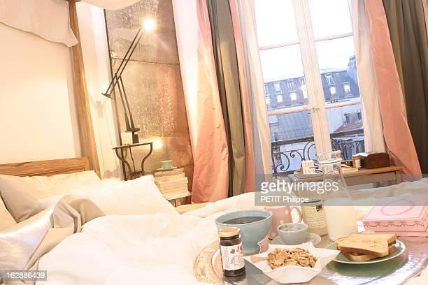 Household Linen Ilustration 'Petit déjeuner au lit ' 'Céréales' housse de couette et taies d'oreiller rectangulaires en coton beige édredon en...