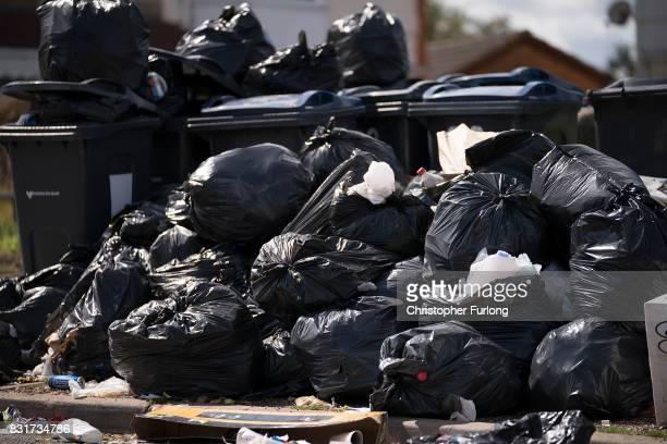 Household rubbish begins to pile high on the streets of Alum Rock in Birmingham as the refuse collector strike enters its sixth week on August 15...
