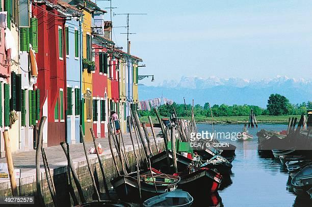 Houses along a canal on the island of Burano Veneto Italy