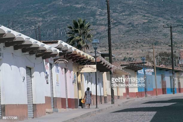 Houses along a street Oaxaca Mexico
