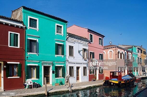 Houses along Fondamenta Cavanella island of Burano Veneto Italy