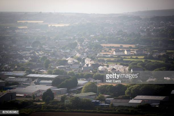 Houses and building in the town of Pool and Camborne are seen from Carn Brea on July 24 2017 in Cornwall England In 2014 figures released by Eurostat...